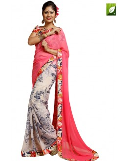 Festival Wear Pink & Peach Weightless Saree  - TM-237