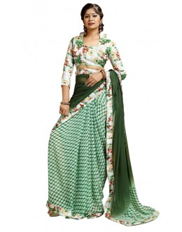 Ethnic Wear Green Weightless Saree  - TM-239