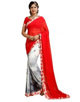 Casual Wear Red & White Weightless Saree  - TM-240