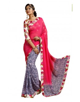 Festival Wear Pink Weightless Saree  - TM-243