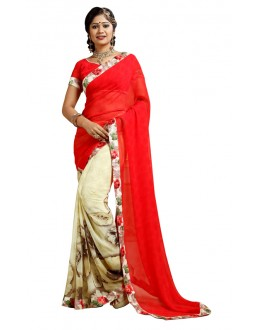Ethnic Wear Red & Beige Weightless Saree  - TM-244
