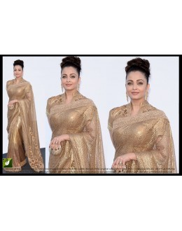 Bollywood Replica - Aishwarya Rai Designer Heavy Golden Net Party Wear Saree - TM-18 ( TM-1 )