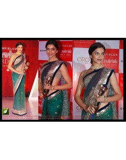 Bollywood Replica - Deepika Padukone Designer Cyan Blue Net Embroidered Party Wear Saree - TM-05 ( TM-1 )