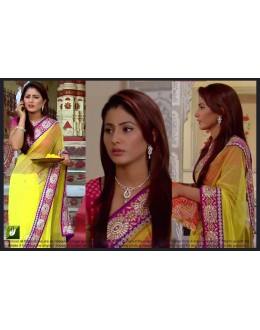 Bollywood Replica - Hina Khan Designer Fancy YellowEmbroidered Georgette Party Wear Saree - TM-60 ( TM-5 )