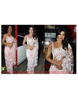 Bollywood Replica - Priyanka Chopra Designer Pink Net Embroidered Party Wear Saree - TM03 ( TM-1 )