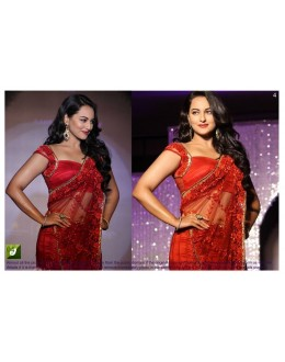 Bollywood Replica - Sonakshi Sinha Designer Red Net Embroidered Party Wear Saree - TM04 ( TM-1 )