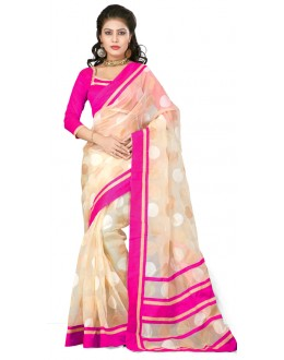 Bollywood Replica - Designer Cream & Pink Saree - TM-122