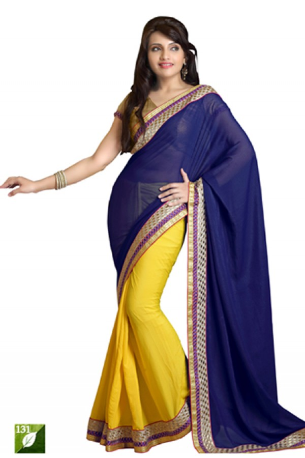 Bollywood Replica - Designer Blue & Yellow Saree - TM-131