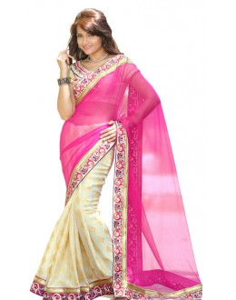 Bollywood Replica - Designer Pink & Cream Saree - TM-136