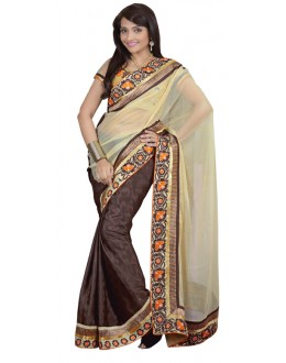 Bollywood Replica - Designer Cream & Brown Saree - TM-139