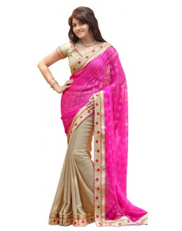 Bollywood Replica - Designer Pink & Beige Saree - TM-141
