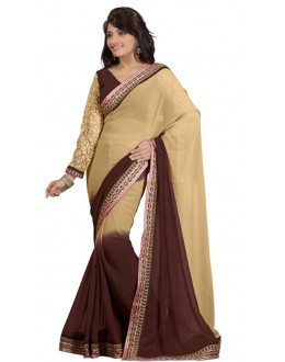 Bollywood Replica - Designer Beige & Brown Saree - TM-145