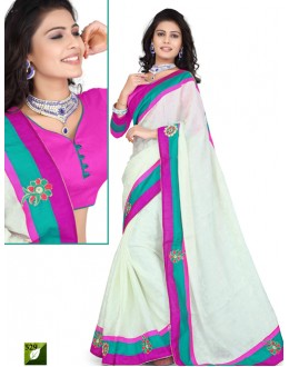 Bollywood Replica - Designer Cream & Pink Saree - TM-529