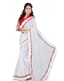 Bollywood Replica - Designer White & Red Saree - TM-530