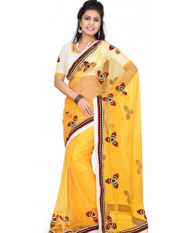 Bollywood Replica - Designer Yellow & Cream Saree - TM-531