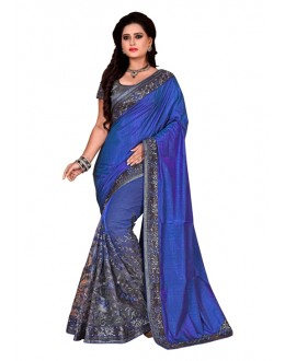 Ethnic Wear Blue & Grey Mono Net Saree  - TM-225