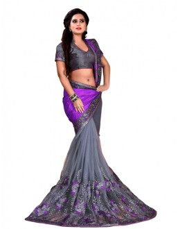 Party Wear Purple & Grey Mono Net Saree  - TM-227