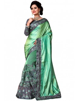Festival Wear Green & Grey Mono Net Saree  - TM-229