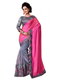 Festival Wear Pink & Grey Mono Net Saree  - TM-232