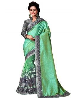 Wedding Wear Green & Grey Mono Net Saree  - TM-233