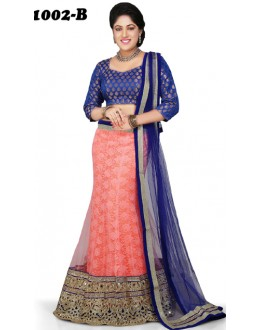 Wedding Wear Blue & Peach Lehenga Choli - 1002-B