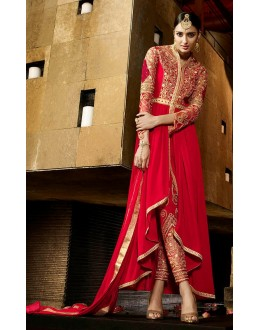 Party Wear Red Royal Georgette Anarkali Suit  - AAFREEN9801