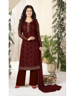 Ayesha Takia In Brown Georgette Palazzo Suit  - Aarohi915