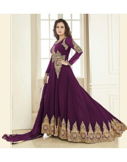 Dia Mirza In Georgette Anarkali Suit  - Aashirvad70005Purple
