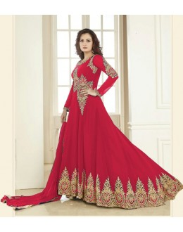 Dia Mirza In Georgette Anarkali Suit  - Aashirvad70005Red