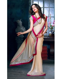Ethnic Wear Cream & Pink Georgette Saree  - AdaeinADA C 06