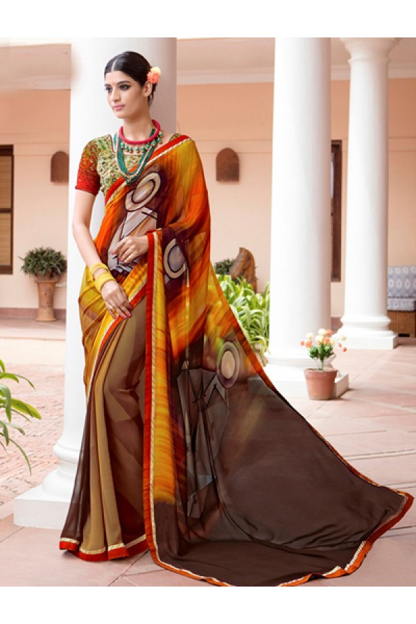 Casual Wear Multi-Colour Georgette Saree  - Akanksha9003