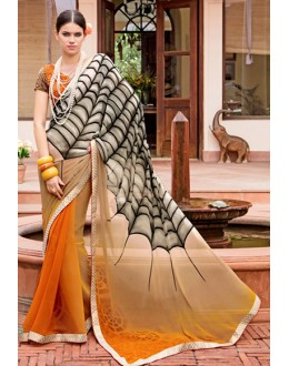 Casual Wear Orange Georgette Saree  - Akanksha9009