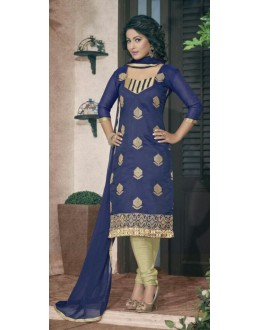 Designer Blue & Golden Salwar Suit - Amaya1004