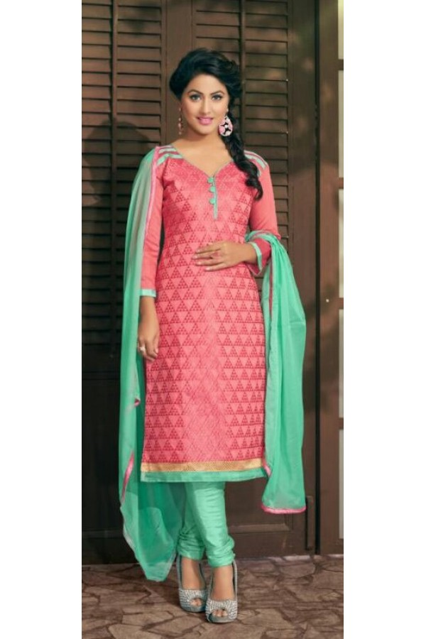 Designer Pink & Light Green Salwar Suit - Amaya1005