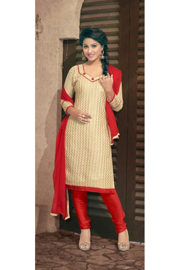 Designer Cream & Red Salwar Suit - Amaya1008