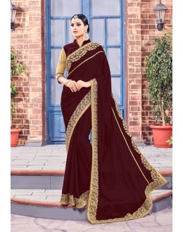 Ethnic Wear Brown Fancy Saree  - Anushee3001
