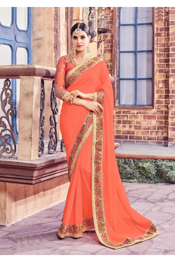 Peach Colour Fancy Saree  - Anushee3003