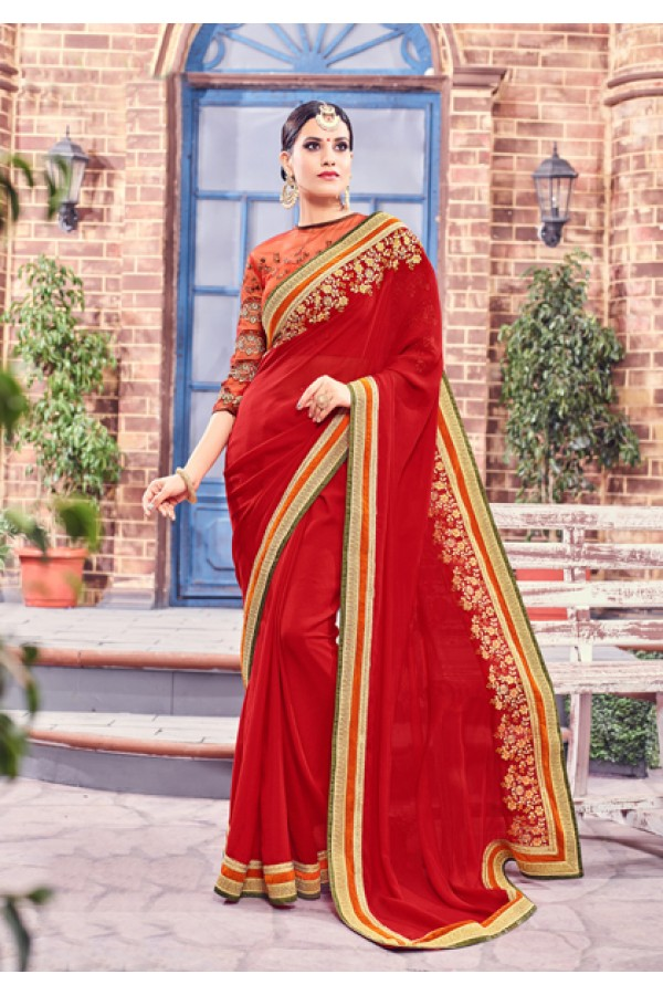 Ethnic Wear Red Fancy Saree  - Anushee3004