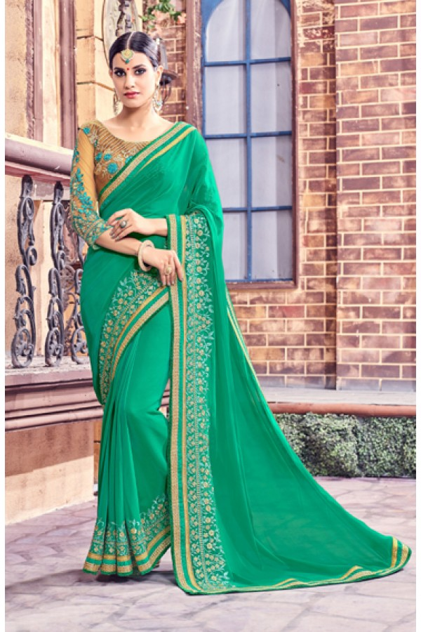 Green Colour Fancy Embroidery Saree  - Anushee3007
