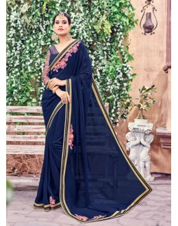 Ethnic Wear Blue Fancy Saree  - Anushee3008