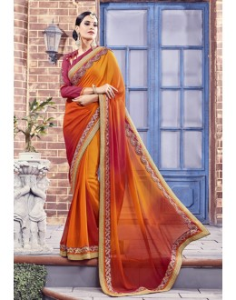 Party Wear Orange Fancy Saree  - Anushee3012