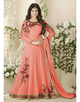Ayesha Takia In Peach Georgette Anarkali Suit  - Avon1005Peach