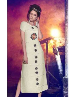 Ethnic Wear Readymade Cream Kurti - BarkhaBD-10