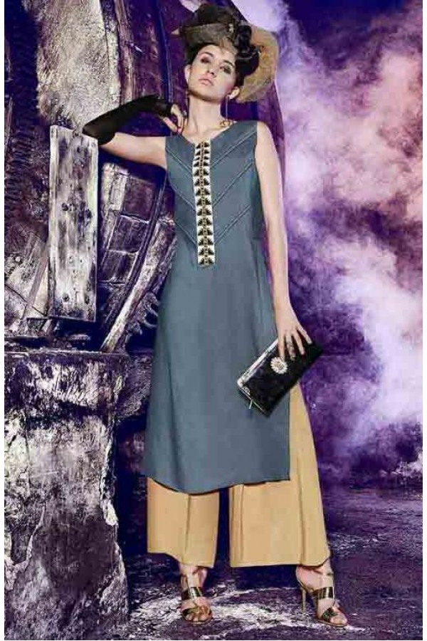 Office Wear Readymade Grey Kurti - BarkhaBD-15