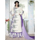 Ethnic Wear White & Purple Georgette Palazzo Suit - Bhavya02