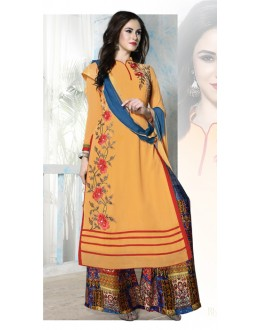 Ethnic Wear Orange Georgette Palazzo Suit - Bhavya03