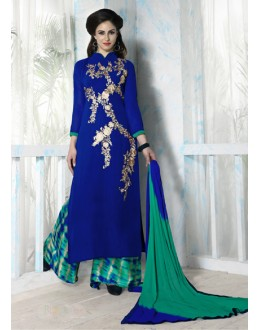Designer Blue & Green Georgette Palazzo Suit - Bhavya05