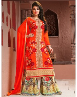 Ethnic Wear Orange Georgette Palazzo Suit  - BRIDAL12