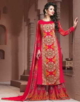Festival Wear Pink Georgette Palazzo Suit  - BRIDAL14