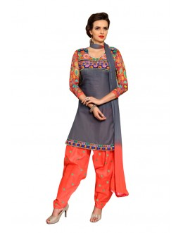 Festival Wear Grey Cotton Patiyala Suit  - CandyCrush6005